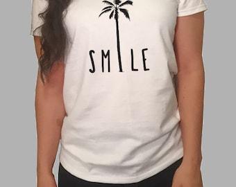 Smile Palm Tree T-shirt- White/Gray Women's T-Shirt