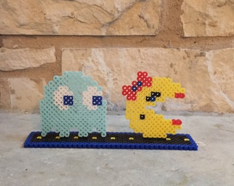 Ms Pacman or Pacman and Ghost with Perler Bead Stand
