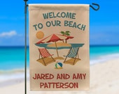 Ready to Ship, Welcome to Our Beach Personalized Garden Flag, Ocean Beach, Summer Garden Flag, Beach Sign, Flag Stand NOT Included WYF-044