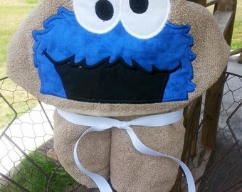 Blue Monster Hooded Towel with FREE Embroidered Name