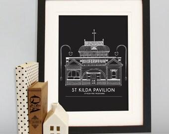 Melbourne A4 St Kilda Pavilion Pier building print, Melbourne Print, Australia print, Melbourne, Victoria, Architectural drawing, Travel