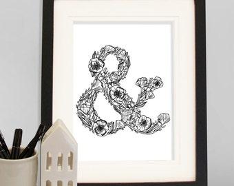 Floral Ampersand A4 Art Print, Monogram nursery print, monogram & print