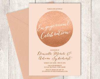 Rose Gold Engagement Party Invitation / Gold Sparkle Glitter Wedding Sign / Metallic Gold and Coral ▷ Printable PDF Invite