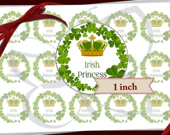 Custom Single Image Sheet IRISH PRINCESS Bottle cap images for bows,magnets,pendants,supplies for crafts. of 1 inch round circles