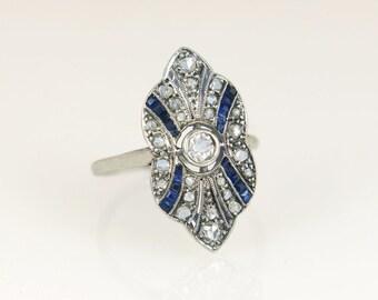 Antique Vintage Estate 18K Gold Platinum .50ct Genuine Diamond & Sapphire Victorian Ring