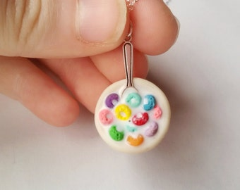 Bowl of Cereal Necklace, Fruit loops cereal, rainbow necklace, miniature food jewelry, milk pendant, kawaii necklace, clay charms