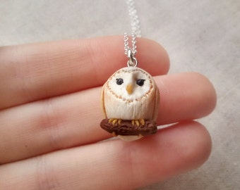 Tiny barn owl necklace, rustic necklace, animal necklace, animal totem, owl jewelry, bird necklace, wise owl, handmade necklace, miniatures