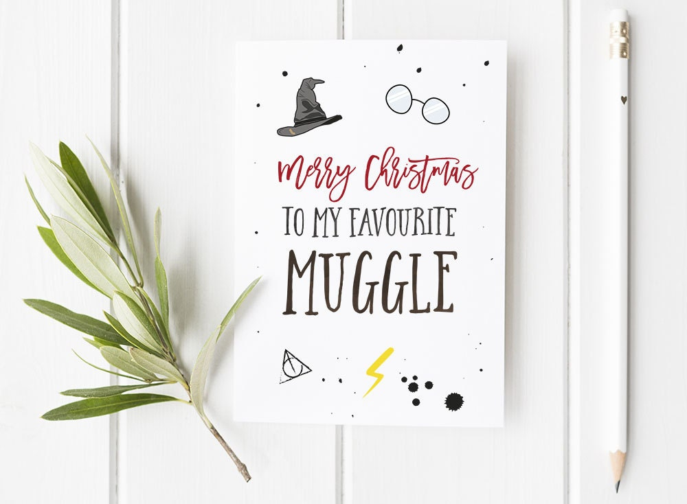 Christmas Card With Harry Potter Inspired Theme / Geek /