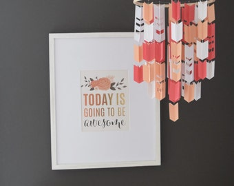 Coral, Peach and White Aztec Arrow Paper Mobile Chandelier with Chevron Cutouts
