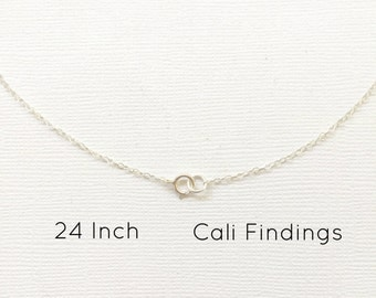 """1 Pc- 24"""" Sterling Silver Finished Necklace, 1.3mm Flat Cable, Finished Necklace, 24 Inch Chains, 24 Inch Silver Necklaces [4013]"""