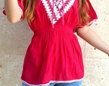 Mexican Pink Tunic Top / V Cut Waist Fit / Festival Style