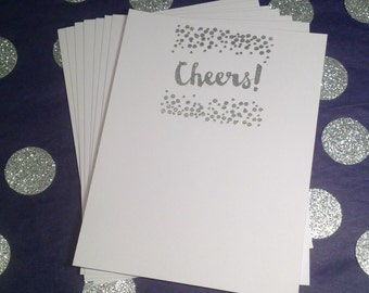 Celebrate/Confetti/Cheers Flat Cards & Envelopes - SIlver and White - Set of 8
