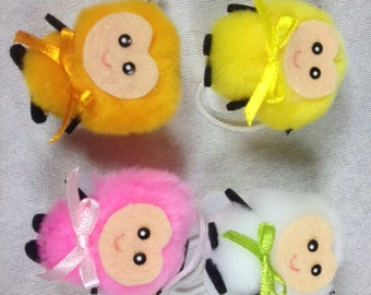 4 Fluffy Insects Craft Insect Fake Insects White Insect Craft Insects Embellishments