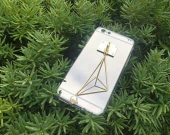 handmade phone case with the metal and peal, modern iPhone case, simple cell phone, iPhone case, Galaxy, Galaxy Note, LG phone case