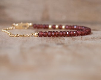 Garnet Bracelet in Silver or Gold, January Birthstone Jewelry, Berry Red Gemstone Bracelet, Garnet Jewellery,  Gemstone Stacking Bracelet