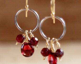 Red Garnet Drop Earrings, January Birthstone, Mixed Metal Jewelry, Gold and Silver Earrings, January Crystal Jewellery, Red Stone Earrings