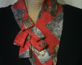 Red, Gray and Brown Ascot Necktie Scarf, Collar, Necklace, Shabby Chic Accessory
