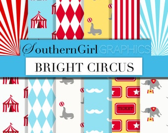 "Bright circus digital paper: ""BRIGHT CIRCUS"" carnival patterns with elephants, seals, diamonds, circus tents, mustaches in blue, red, yellow"
