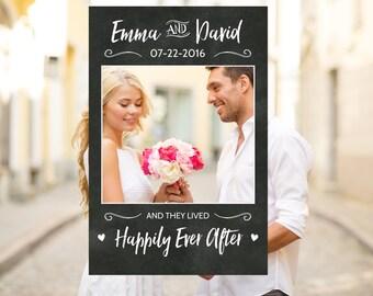 Chalkboard Wedding Photo Booth Frame Prop Rustic Sign Printable Digital