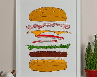 Gourmet Burger - 5 Color Hand Printed A3 Silkscreen Poster
