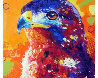 "Buteo - Original colorful traditional acrylic painting on paper 8.5""x11"""