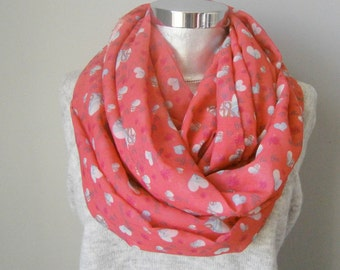 I love you to the moon and back ' chifon infinity scarf coral scarf  Gift Ideas, For Her, Infinity Scarf
