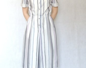 Vintage 80s 90s Short Sleeve Midi Dress