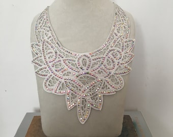 White Lace Bib Necklace Large with Aurore Boreale Swarovski Crystals - Handmade One of a Kind Bridal Wedding Necklace
