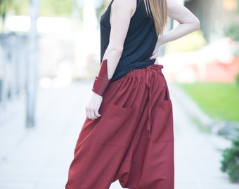 Plus size Clothing for Women, Burgundy Loose Harem Pants Two Sides, Extravagant Drop Crotch  Pants, Maxi Trousers by EUGfashion
