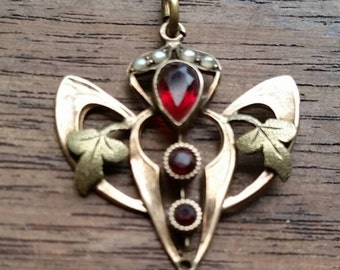 HOLD for RUBY! Exquisite antique Edwardian gold, seed pearls, and garnet lavaliere pendant!  Downton Abbey elegance!