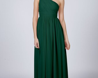 Matchimony Forest Green One Shoulder Long Bridesmaid/Prom Dress