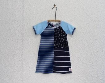 Recycled T Shirt Dress, Girls Size 5 Tshirt Dress, Upcycled Tshirt Dress, Repurposed T Shirt Dress, Girl's Dress,Raglan Sleeve Child's Dress