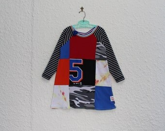 Patchwork Dress, Birthday Dress, 5th Birthday Dress, Recycled T Shirt Dress, Girl's Size 5 Tshirt Dress, Upcycled Tshirt Dress,Girl's Dress,
