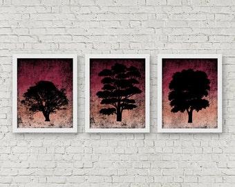 Instant Download - Set Of 3 Art Prints - Tree Silhouette Wall Art - Nature Art Poster - Office Wall Art Set - Distressed Art Print - 8 x 10
