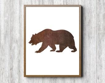 Brown Bear Silhouette Wall Art - Bear Printable Wall Decor - Woodland Animal Poster -Grizzly Bear Print - Office Decor - Digital Artwork