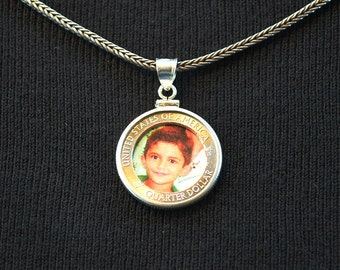 Coin Locket - Made from a US State Quarter - With Sterling Silver Frame