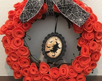 Witches Flight Halloween Wreath 13- 15 inches