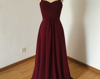 Wide Straps Sweetheart Burgundy Chiffon Long Bridesmaid Dress