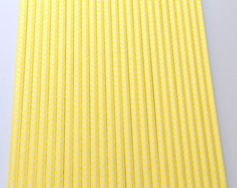 YELLOW & WHITE CHEVRON Paper Straws / Party Straws / Party Decor / Chevron Straws / Paper Party Straws / Fall Straws / Drinking Straws