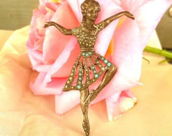 Beautiful Ballerina Vintage Brooch with marquesites. 40's Jewelry. Art Deco Brooch
