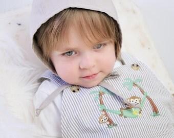 Khaki Baby Boy Bonnet // Modern Baby Bonnet // Gift for Baby Boy