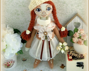 fabric soft doll Alison rag doll cloth doll мягкая тряпичная кукла Mother's Day текстильная кукла handmade doll ooak stuffed doll