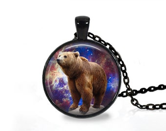 Galaxy animal necklace Nebula jewelry Space fog brown bear pendant