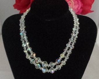 "25% off with Coupon Code 70417 Vintage Laguna Aurora Borealis Double Strand 17""  Necklace including the Silvertone Clasp"