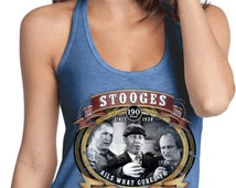 Ladies Three Stooges Tanktop Moonshine Whiskey T-Back Tank Top 18667D2-DT250