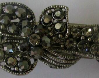 swarovski barrette, austrian crystal barrette, austrian barrette, crystal barrette, adjustable barrette, vintage barrette, vintage clip