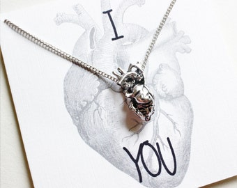 Anatomical Heart Necklace, Gift for Men, Gift for Boyfriend, Anniversary gifts for Boyfriend, Boyfriend Gift, Gift for Boyfriend, Boyfriend