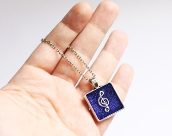 Music jewelry Gift for her Blue necklace Square music gift Treble clef pendant Music lover gift Blue jewelry Musicians gift Glitter necklace