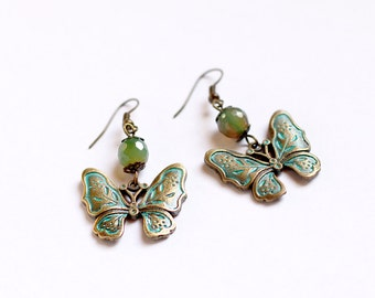 Butterfly earrings Green agate dangles Semiprecious stone earrings Green jewelry for women Gift for her Boho dangle earring Under 10 jewelry