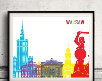 Warsaw pop art skyline 8x10 in. to 12x16 in. Fine Art Print Glicee Poster Gift Illustration Pop Art Colorful Landmarks - SKU 1160